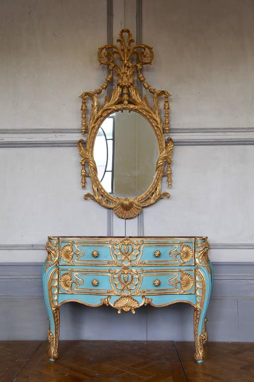 Italian baroque style giltwood commode reproduced by la for Maison style baroque