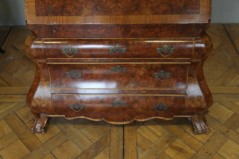 Antique Dutch Secretaire Desk With Bombe Chest Finished In