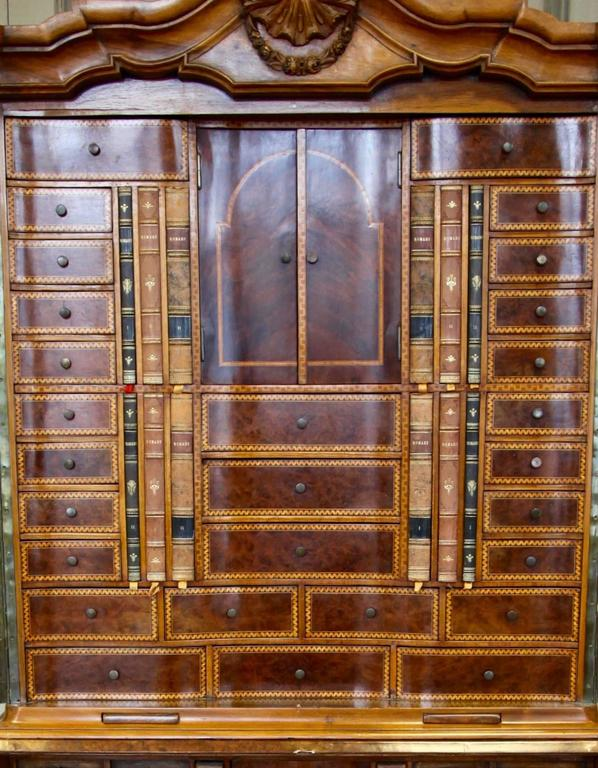 Antique Dutch Secretaire Desk With Bombe Chest Finished In Fruitwood  Marquetry For Sale 1