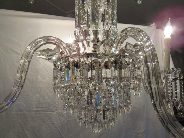 Large European Four Light Crystal Chandelier Early 20th