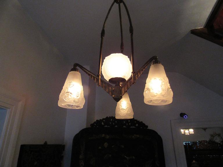 French Art Deco Chandelier Muller Freres Lunville Circa
