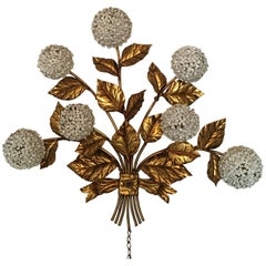 Large Midcentury Hydrangea Wall Sconce Lighting