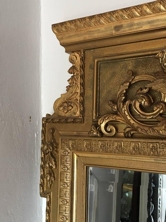 Large Victorian Giltwood And Beveled Glass Floor Mirror