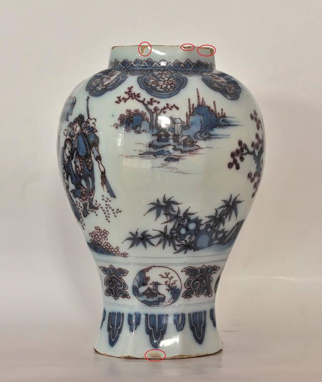 Delft Fa 239 Ence Vase Decorated Chinese Scenes 17th Century