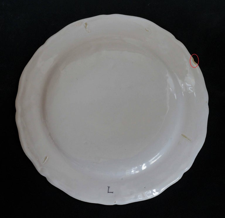 Louis XV Moustiers 'France', 18th Century, Plate Earthenware with Grotesque Fantasy For Sale
