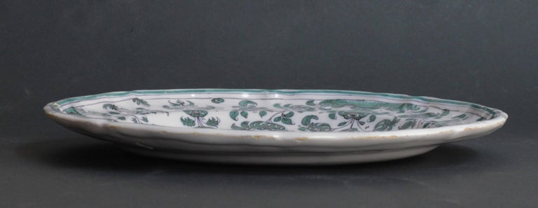 French Moustiers 'France', 18th Century, Plate Earthenware with Grotesque Fantasy For Sale