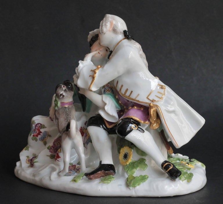 Meissen Porcelain Gallant Group with a Pug Dog, circa 1746 In Excellent Condition For Sale In Paris, FR