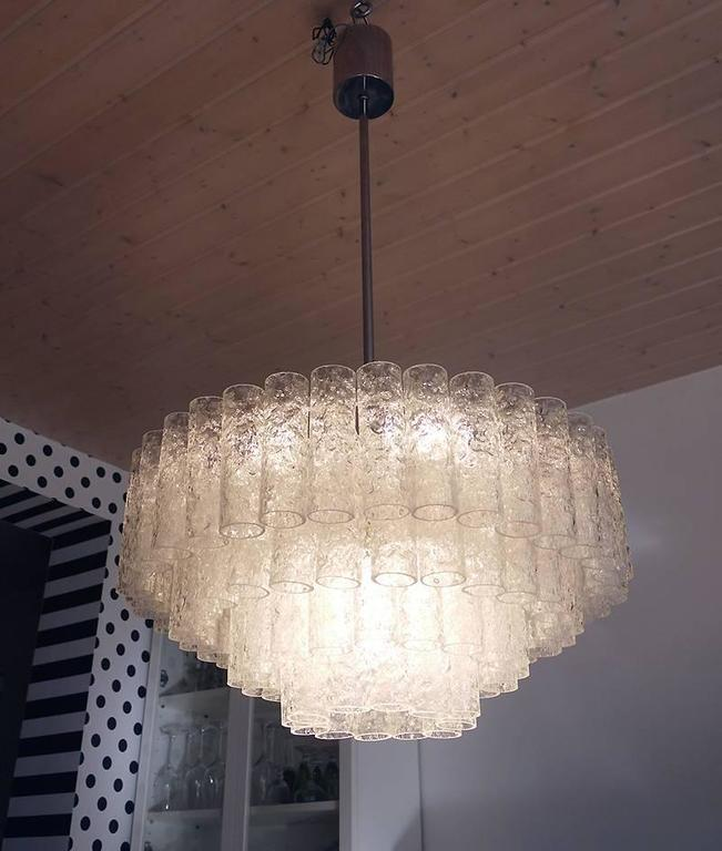 Wonderful Crystal Chandelier by Doria, Germany, 1960s with Murano Glass Tubes In Excellent Condition For Sale In Niederdorfelden, Hessen