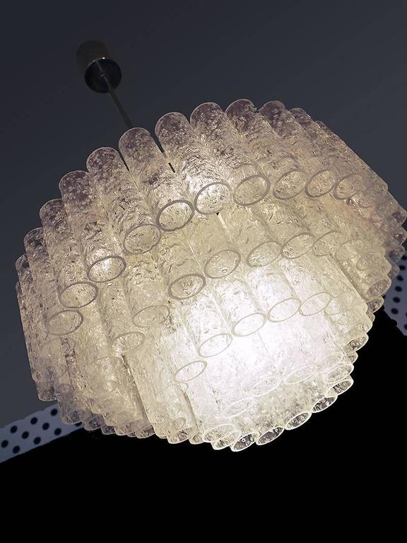 Wonderful Crystal Chandelier by Doria, Germany, 1960s with Murano Glass Tubes For Sale 2