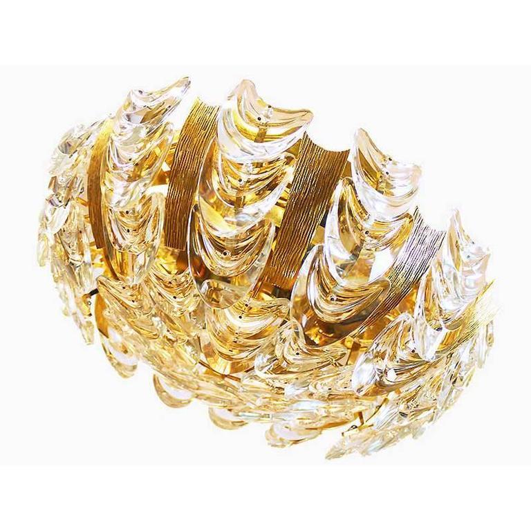 Large Palwa Gilt Brass / Crystal Flush Mount Ceiling Light Chandelier, 1960s