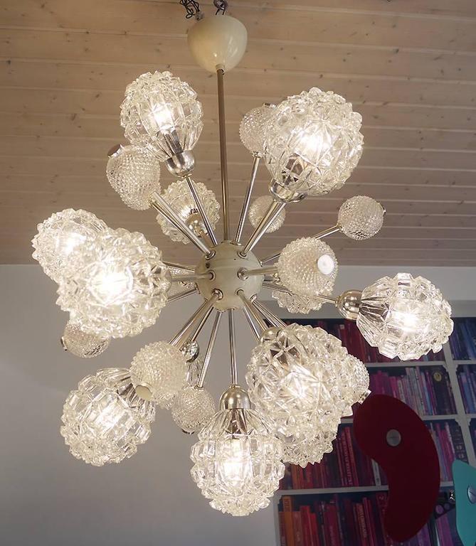 German Richard Essig Bubble Glass Sputnik Chandelier For Sale