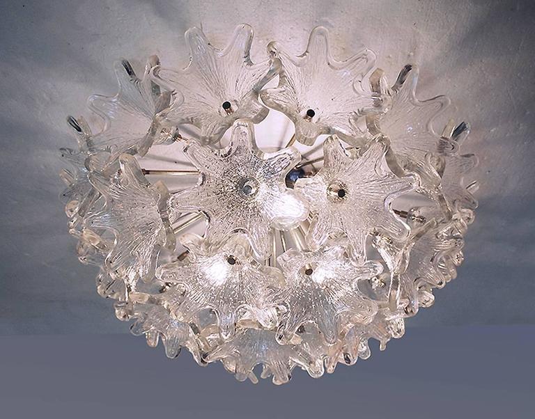 Mid Century Modern Murano Glass Flower Sputnik Flush Mount Chandelier By Venini For Veart