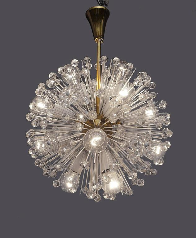 A smaller version of the snowball chandelier by Emil Stejnar for Rupert Nikoll made in Vienna, Austria in the 1950s.