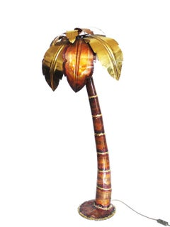 Brutalist Hollywood Regency Palm Tree Floor Lamp, Brass & Glass, 1970s