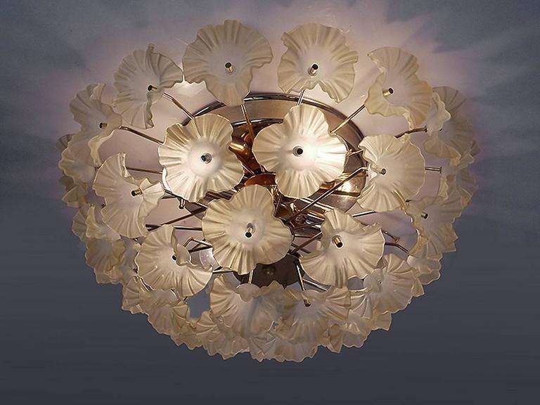 European 1960 Italy Sputnik Flush Mount Chandelier Turquoise Murano Glass Flowers & Brass