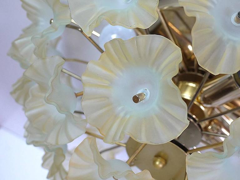 Mid-Century Modern 1960 Italy Sputnik Flush Mount Chandelier Turquoise Murano Glass Flowers & Brass