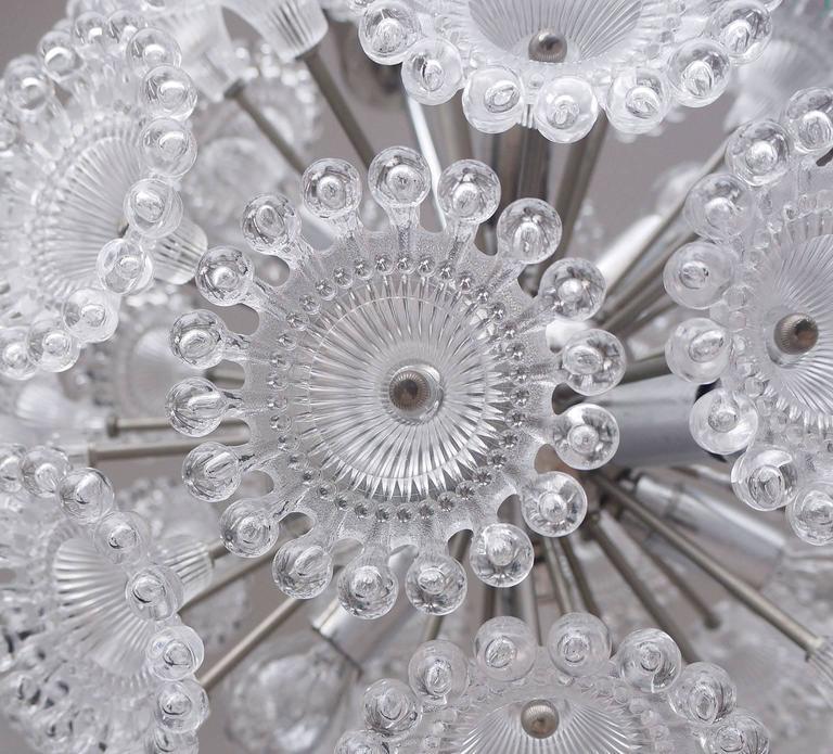 Chrome Lucite Flowers Sputnik Chandelier Dandelion Clock, 1960s For Sale