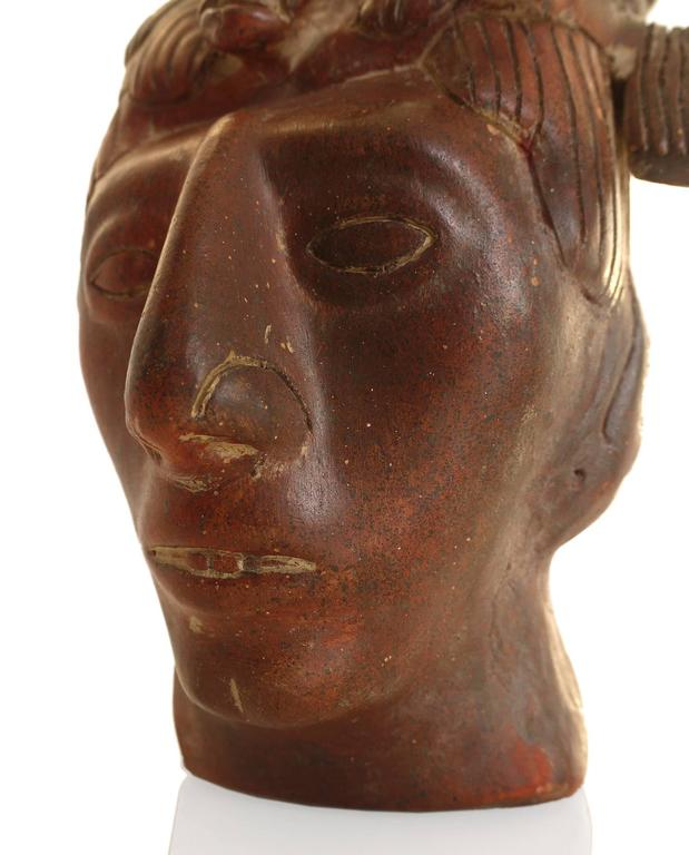 Aztec Mayan Style Terra Cotta Sculpted Head Of King Pacal