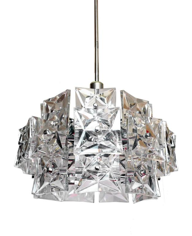 Crystal and Chrome Chandelier by Kinkeldey, Germany For Sale 2