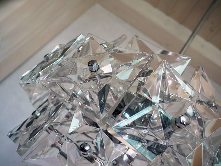 Crystal and Chrome Chandelier by Kinkeldey, Germany In Excellent Condition For Sale In Niederdorfelden, Hessen