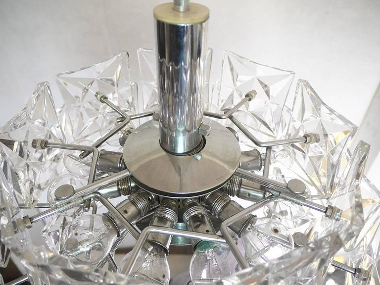 Mid-20th Century Crystal and Chrome Chandelier by Kinkeldey, Germany For Sale