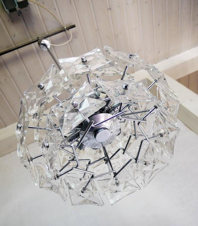 Crystal and Chrome Chandelier by Kinkeldey, Germany For Sale 3