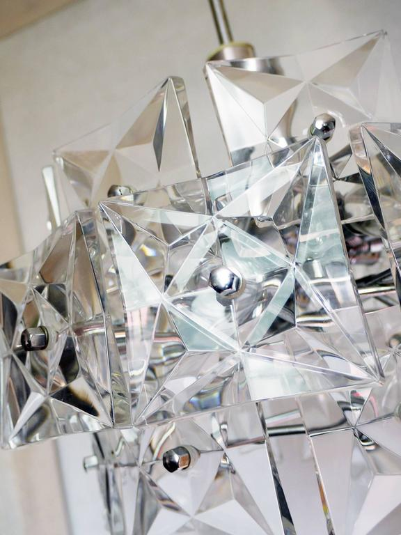 Crystal and Chrome Chandelier by Kinkeldey, Germany For Sale 1