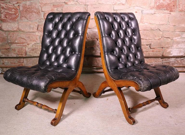 Pair Of Button Tufted Leather Slipper Chairs Designed By Pierre Lottier For  Valenti, Spain In