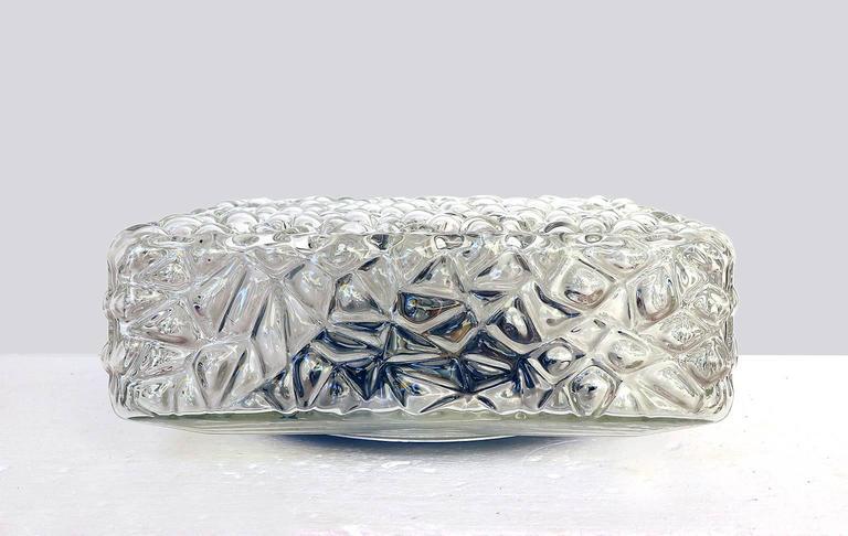 Austrian Modernist Pebble Glass Flush Mount Fixture by Rupert Nikoll, Austria For Sale