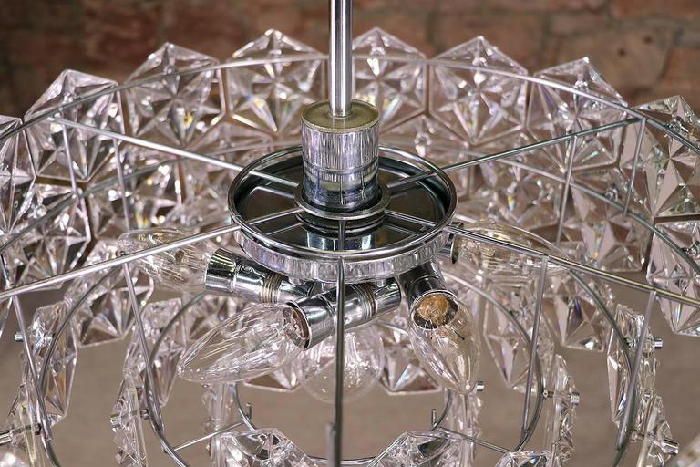 Mid-Century Modern Large Five-Tier Chandelier Chrome & Crystal by Kinkeldey For Sale