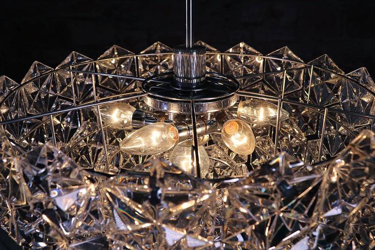 Metal Large Five-Tier Chandelier Chrome & Crystal by Kinkeldey For Sale