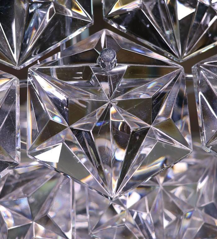German Large Five-Tier Chandelier Chrome & Crystal by Kinkeldey For Sale