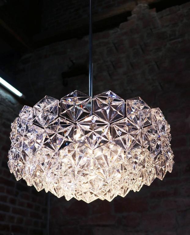 Large Five-Tier Chandelier Chrome & Crystal by Kinkeldey In Good Condition For Sale In Niederdorfelden, Hessen