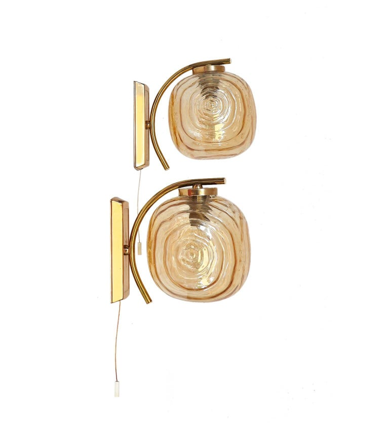 Pair of Amber Glass Wall Sconces by Glashutte Limburg, Germany, 1960s For Sale at 1stdibs