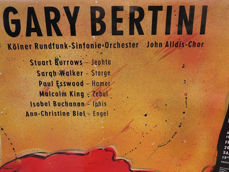 Gary Bertini - Jephta, concert poster 1985 Alte Oper Frankfurt, Germany. Not framed, has not been folded, rolled up. Size: 118 x 84 cm. Two pieces available.