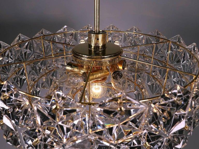 Large Gold-Plated Crystal Chandelier by Kinkeldey, Germany, 1960s In Good Condition For Sale In Niederdorfelden, Hessen