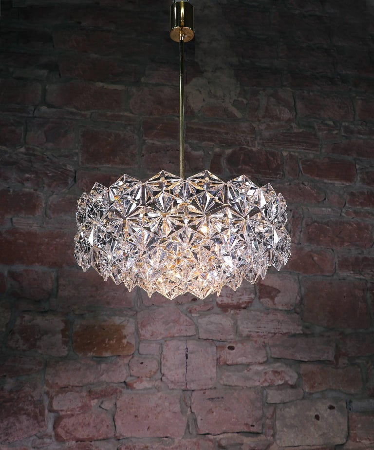 Large Gold-Plated Crystal Chandelier by Kinkeldey, Germany, 1960s For Sale 3