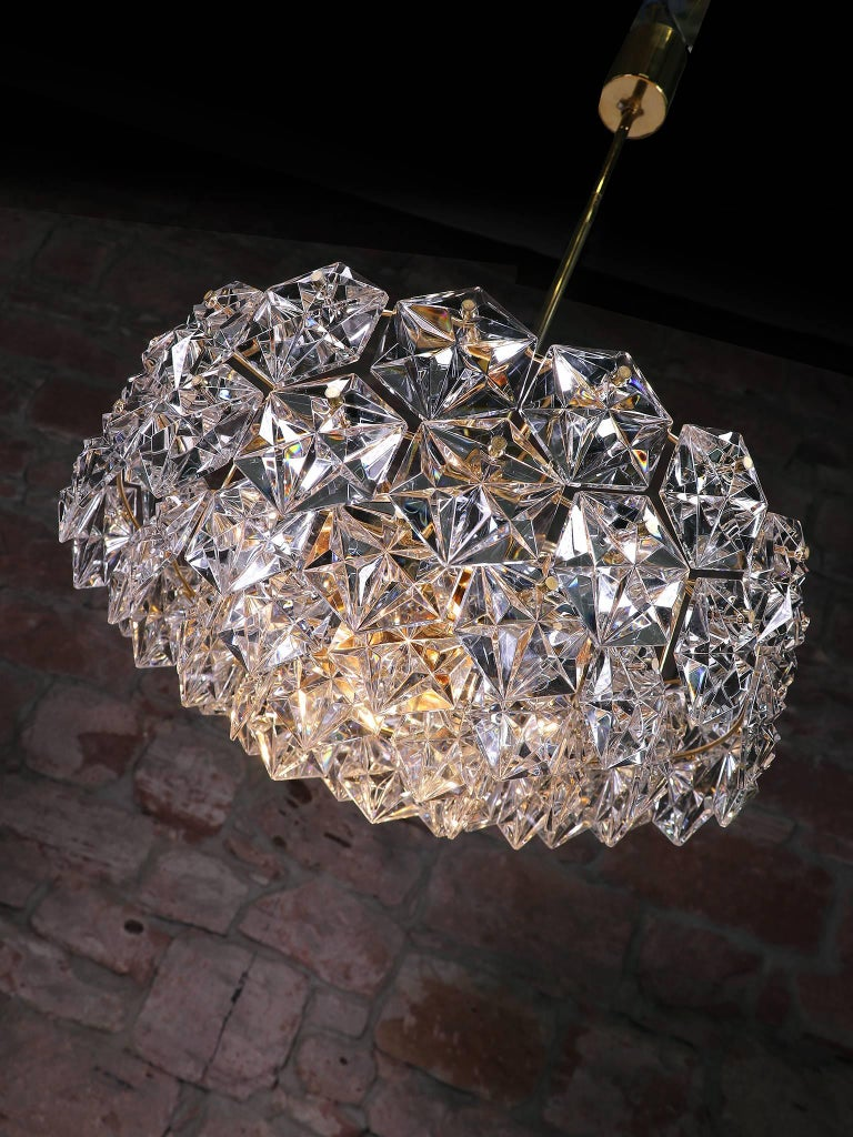 Mid-Century Modern Large Gold-Plated Crystal Chandelier by Kinkeldey, Germany, 1960s For Sale