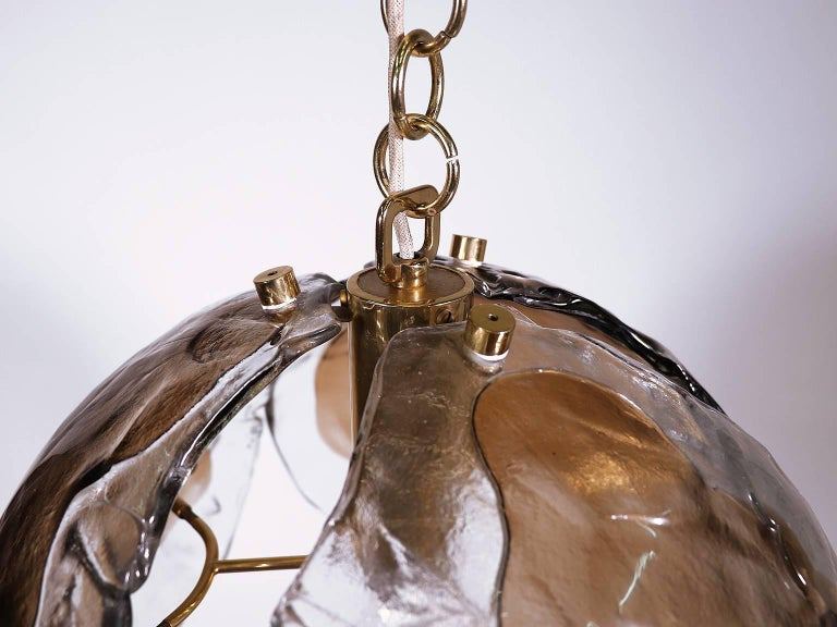 Murano Glass Pendant Light amber by Kaiser, Germany 1960s 4