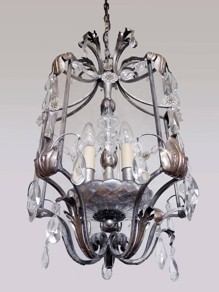 Italian Florentine Chandelier Crystal and Wrought Iron Lantern by BF Art, Italy For Sale