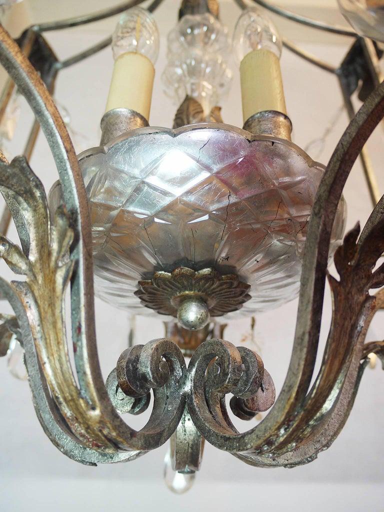 Florentine Chandelier Crystal and Wrought Iron Lantern by BF Art, Italy In Good Condition For Sale In Niederdorfelden, Hessen