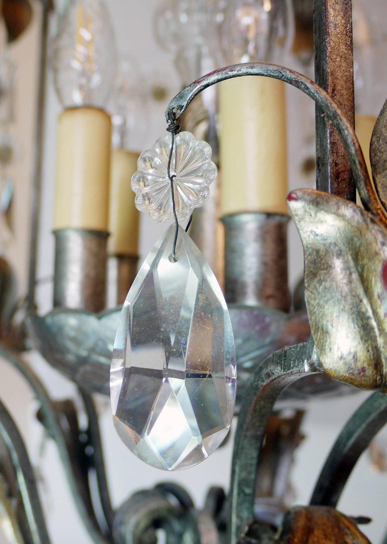 20th Century Florentine Chandelier Crystal and Wrought Iron Lantern by BF Art, Italy For Sale