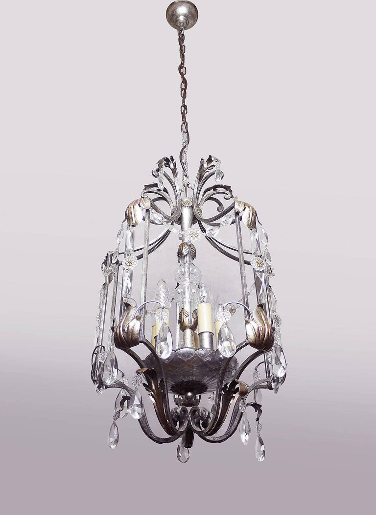 Florentine Chandelier Crystal and Wrought Iron Lantern by BF Art, Italy For Sale 1