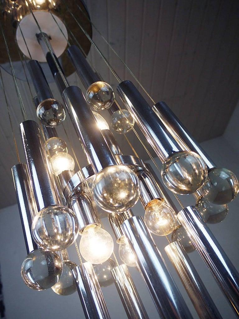 Stunning flush mount crystal balls chandelier by Gaetano Sciolari, Italy, 1970s Amazing eye-catching, brass frame with six small Edison bulbs.