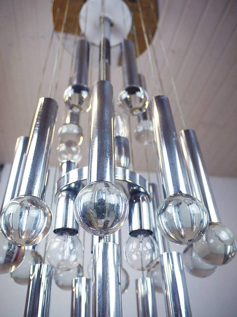 Mid-Century Modern Stunning Flush Mount Crystal Balls Chandelier by Gaetano Sciolari, Italy 1970s For Sale