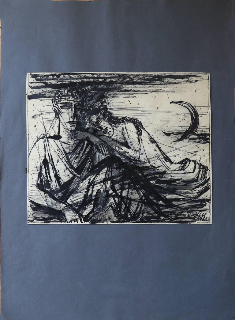 Emil Betzler  German Expressionist painting 'Legend', 1962 ('Sage') Pen and brush ink drawing on velin paper. Signed and dated by theartist. Shown in 'Emil Betzler' - monograph of his art work released in 1968 by Prof. Dr. Hans Meyers, Metopen