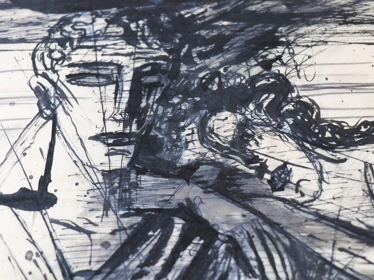 Hand-Painted Emil Betzler 'Legend' German Expressionist Ink Painting For Sale