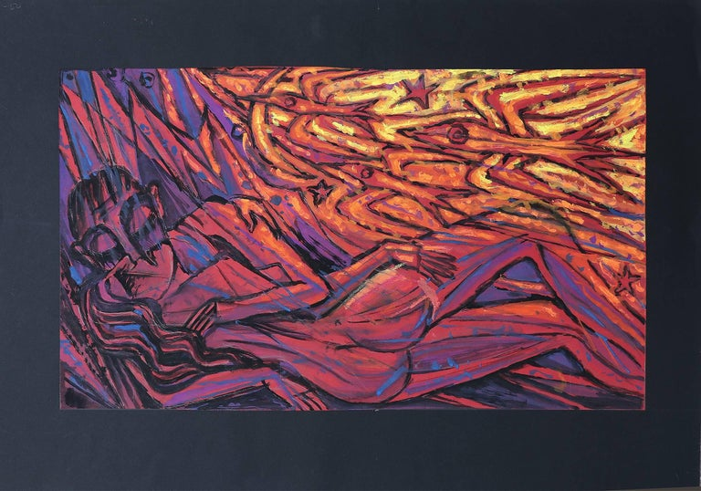 Mid-20th Century Emil Betzler 'Icarus'' German Expressionist Painting For Sale