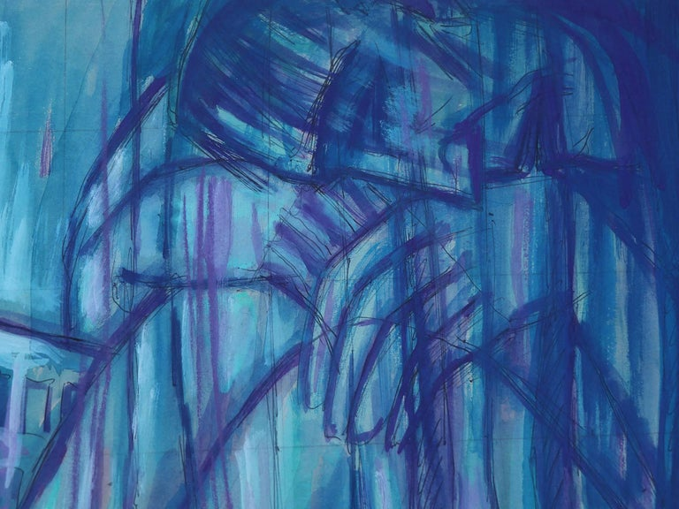 Emil Betzler  German Expressionist tempera painting 'Couple in Blue', 1960 ('Paar in blau') Outstanding piece of expressionist art. Signed and dated by the artist. Similar works shown in 'Emil Betzler' - a monograph of his art work released in