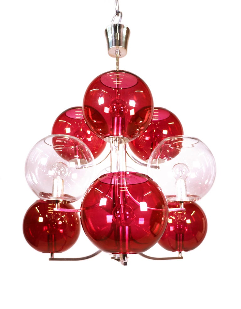 Mid-20th Century Rare Nine Glass Globes Cluster Chandelier with Silver Plated Frame, Italy, 1960s For Sale